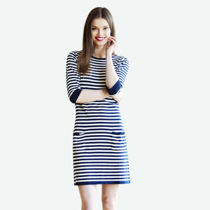 Knitted Breton Jumper Dress In Pure Cotton