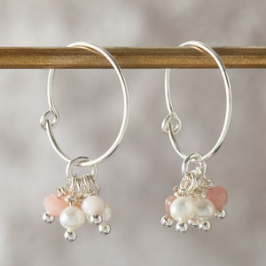 Gemstone And Pearl Hoop Earrings - earrings