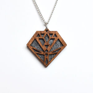 Contemporary Geometric Diamond Pendant Necklace D7