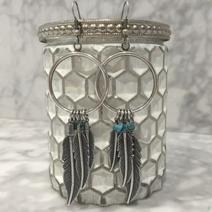 Antique Silver Feather Hoop Earrings
