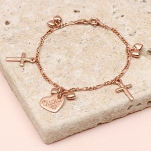 Personalised Rose Gold Christening Charm Bracelet
