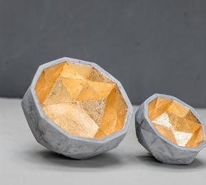 Set Of Two Concrete And Gold Leafed Bowls - dining room
