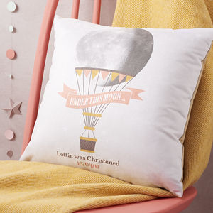 Child's Personalised Hot Air Balloon Moon Cushion - christening gifts