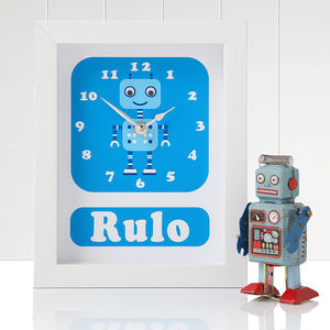 Personalised Framed Robot Clocks - modern christening gifts