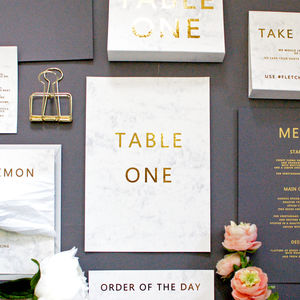 Marble And Gold Wedding Table Name/Number Flat Card - new in wedding styling