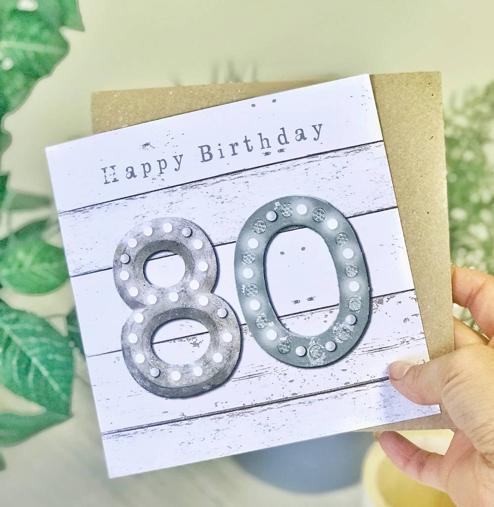 80th Birthday Vintage Letters Male Greeting Card
