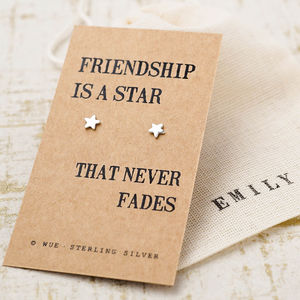 Friendship Star Silver Earrings - personalised jewellery