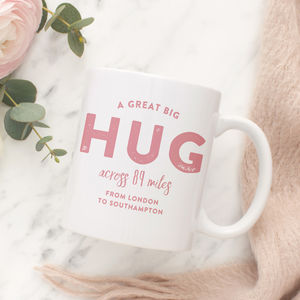 Personalised 'Hug Across The Miles' Locations Mug - tableware