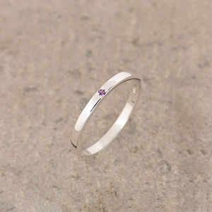 Amethyst Silver Stacking Ring February Birthstone - rings