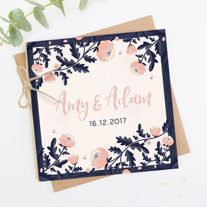 Blush And Navy Floral Folded Wedding Invitation - invitations