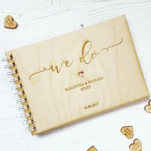 'We Do' Wooden Wedding Guestbook