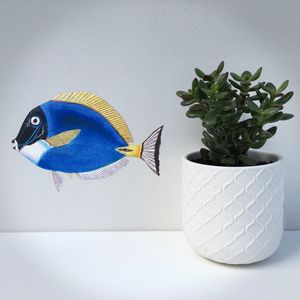 Blue Fish Fabric Wall Sticker - winter sale