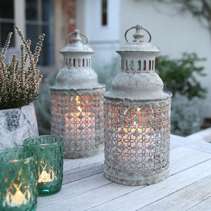 Greywashed Small Fretwork Lantern - lights & lanterns