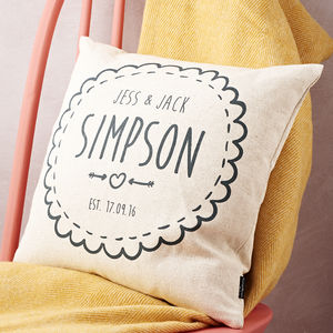 Personalised Couple Cushion Cover - living room