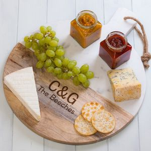 Personalised Round Mango Wood And Marble Chopping Board - last-minute gifts