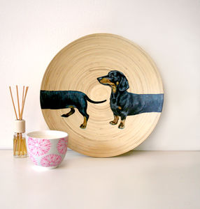 Original Sausage Dog Dashchund Painting On A Plate
