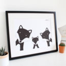 Fox Family Selfie, Personalised A3 Print