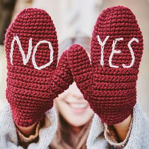 Handmade Yes No Embroidered Mittens - gifts for tweens