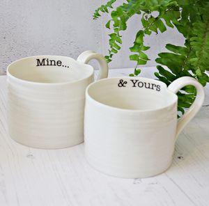 'Mine… And Yours' Hand Thrown Porcelain Mug Pair - gifts for her sale