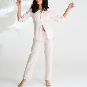 Cotton Pyjamas In Pale Pink Bud Print