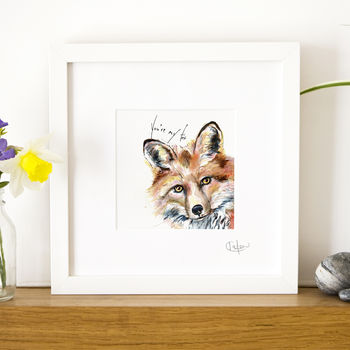 Inky Fox Illustration Print With Optional Message
