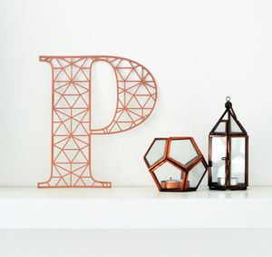 Paper Cut Laser Geometric Letter Print In Copper - home accessories