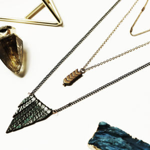 Contrasting Copper And Brass Layering Necklace