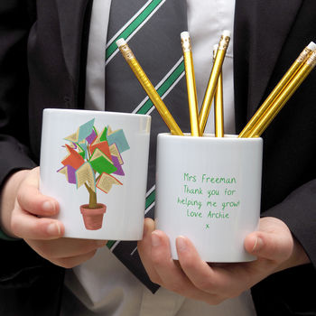 'Tree Of Knowledge' Desk Tidy Personalised Teacher Gift