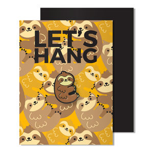 Magnetic Sloth Enamel Pin Badge Card