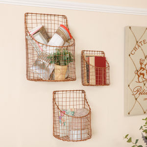 Three Handwoven Copper Wire Industrial Wall Baskets - baskets