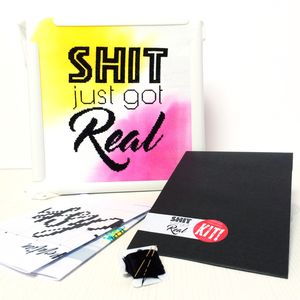 'Shit Just Got Real' Modern Cross Stitch Kit