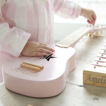Personalised Pink Wooden Play Guitar