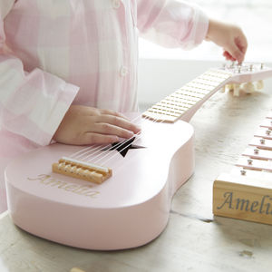 Personalised Pink Wooden Play Guitar - new modern toys
