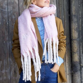 Personalised Embroidered Oversized Lilac Tassel Scarf