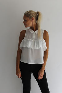 Frill Detail Chiffon Shirt - winter sale