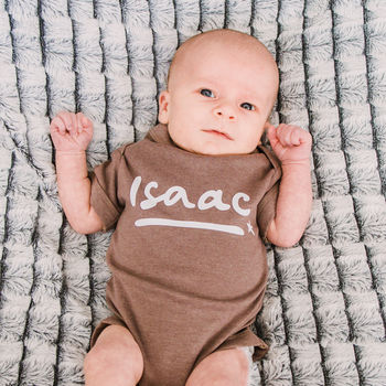Personalised Name Baby Grow With Star