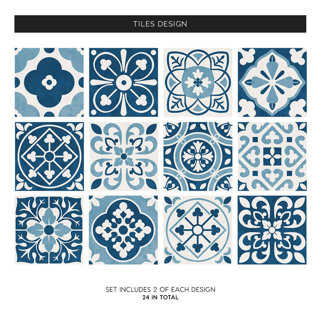 Blue Moroccan Tile Stickers Set Pack Of 24