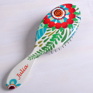 Personalised Flower Pattern Hair Brush - more