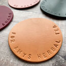 Hand Stamped Personalised Leather Coaster