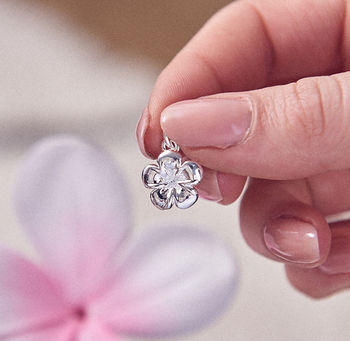 Frangipani Solid Silver Flower Charm