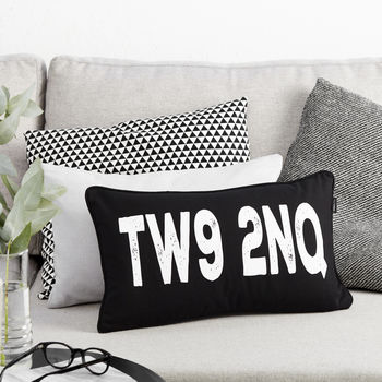 Monochrome Postcode Boudoir Cushion