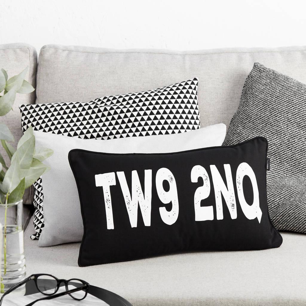 Monochrome Postcode Boudoir Cushion