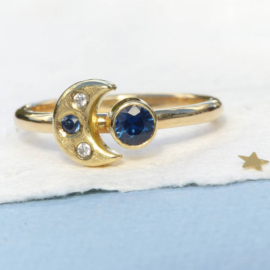 Moon And Stars Ring In 18ct Gold