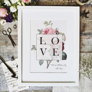 Vintage Love Botanical Personalised Print - gifts for couples