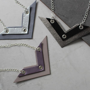 Chevron Geometric Leather Necklace - necklaces & pendants