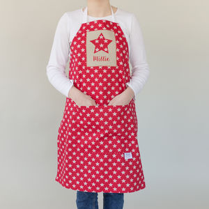 Personalised Red Star Apron