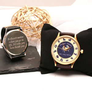 Personalised Handmade Wrist Watch With Zodiac Design