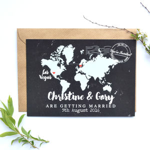 Chalkboard Map Wedding Invitation Postcard