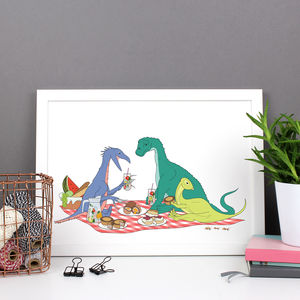 Dinosaur Picnic Print - food & drink prints