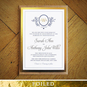 Ascot Gold Foil Wedding Invitation - order of service & programs